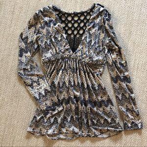 Sky flowy blouse